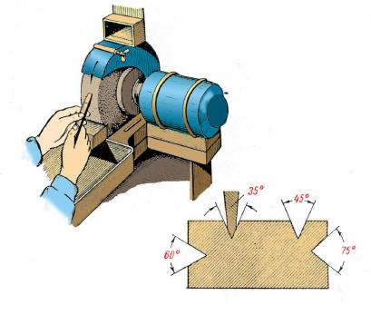 Заточка зубила (крейцмейселя) на заточном станке и шаблон для проверки правильности заточки