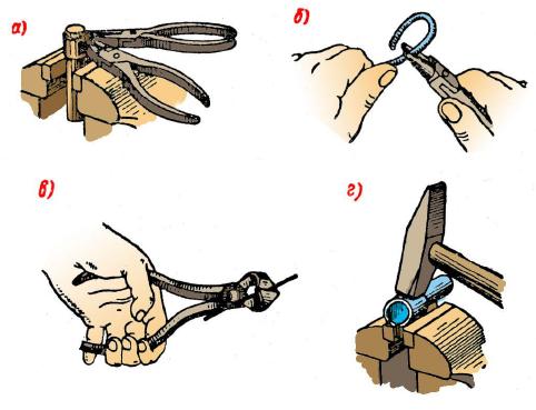 Приемы гибки тонкого полосового металла и проволоки